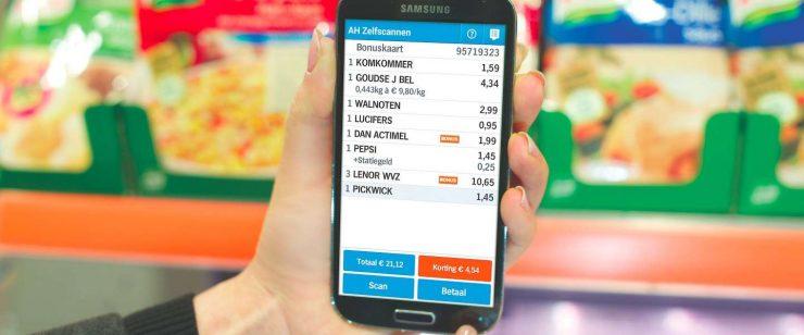 Vanaf 20 juni is Albert Heijn een test gestart met mobiel betalen in de Appie app. In twee Albert Heijn supermarkten kunnen klanten nu naast scannen en de boodschappenlijst invoeren ook direct mobiel betalen. Hiervoor is dus de handscanner niet meer nodig. Nadat alles gescand is kan de klant direct mobiel betalen in de applicatie van Albert Heijn. Na betaling komt er een barcode op het scherm waarna klanten de winkel kunnen verlaten.