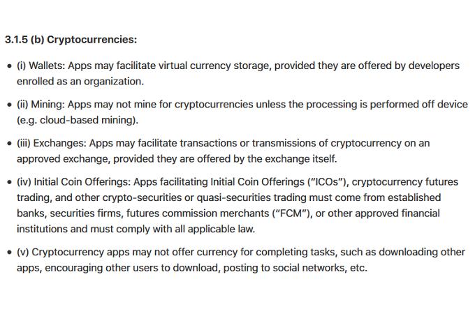 Bitcoins minen is helemaal in en ontwikkelaars maken hier gretig gebruik van. Toch heeft Apple hier nu een stokje voor gestoken. In hun laatste voorwaarden heeft Apple een sectie toegevoegd met betrekking tot cryptovaluta. Mining is niet meer toegestaan op de iPhone zelf.