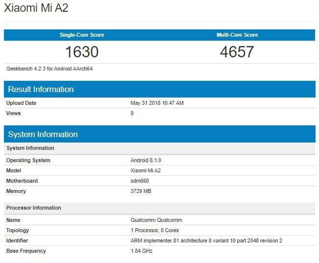 De nog aan te kondigen Xiaomi Mi A2 is opgedoken in GeekBench. De nieuwe smartphone moet de directe opvolger worden van de Mi A1 en zal net als zijn voorganger gaan werken op basis van Android One. Uit de testresultaten zijn ook enkele specificaties gelekt die tot op heden nog onbekend of onduidelijk waren.