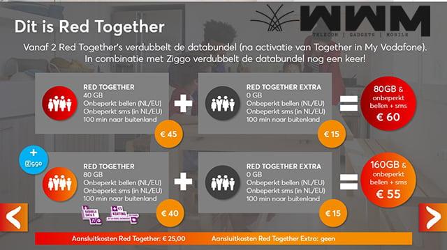 Volgens bronnen komt Vodafone volgende week met een nieuwe abonnementsvorm. RED Together moet, zoals de naam het al zegt, een familie abonnement worden. Hierbij wordt bijvoorbeeld de databundel met het hele gezin of familie gedeeld. Vodafone zelf heeft de komst van dit nieuwe abonnement nog niet bevestigd.
