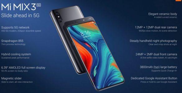 Voorafgaand aan het MWC heeft Xiaomi vandaag de Mi Mix 3 5G gelanceerd. Het is de eerste commerciele smartphone die ook geschikt is om gebruik te maken van een 5G-netwerk. Om de introductie extra kracht bij te zetten werd er een Skype videogesprek via 5G gevoerd. Het gesprek werd gevoerd via de spaanse tak van Orange en volgens de fabrikant is het het eerste 5G gesprek buiten China.
