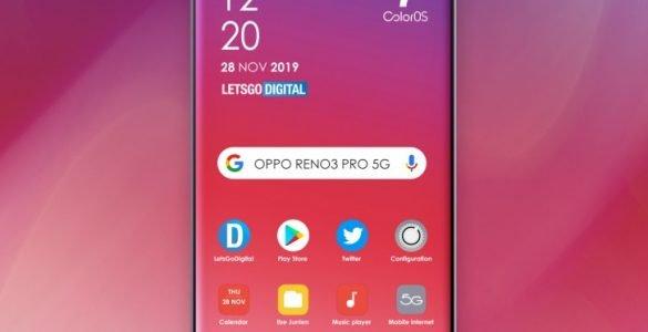De renders van de Oppo Reno3 Pro 5G tonen goed hoe de smartphone er uit komt te zien.