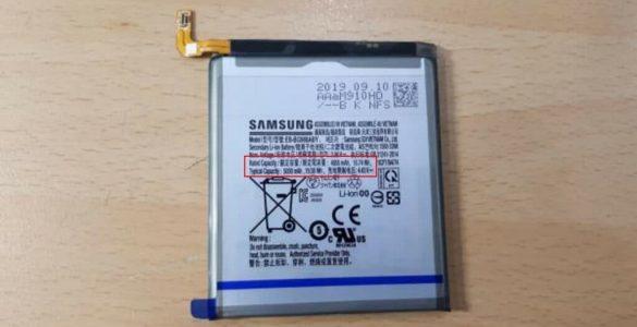 Foto's van een 5000 mAh betreffen mogelijk de accu voor de Galaxy S11+.