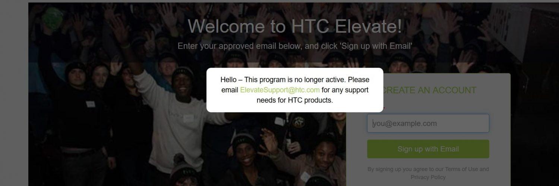 HTC heeft besloten op de deuren van hun community Elevate per direct te sluiten.
