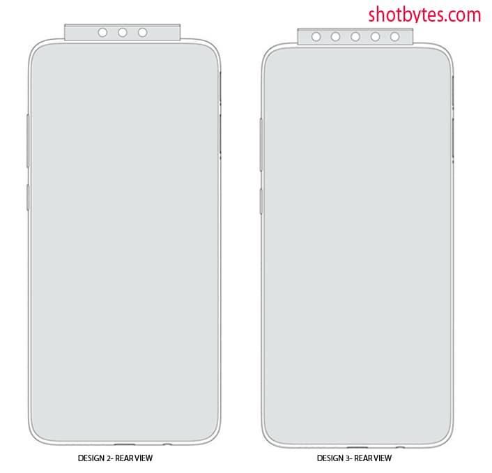 Het patent van Xiaomi toont een pop-up camera waarbij ook de lenzen aan de achterzijde hierin verwerkt zijn.