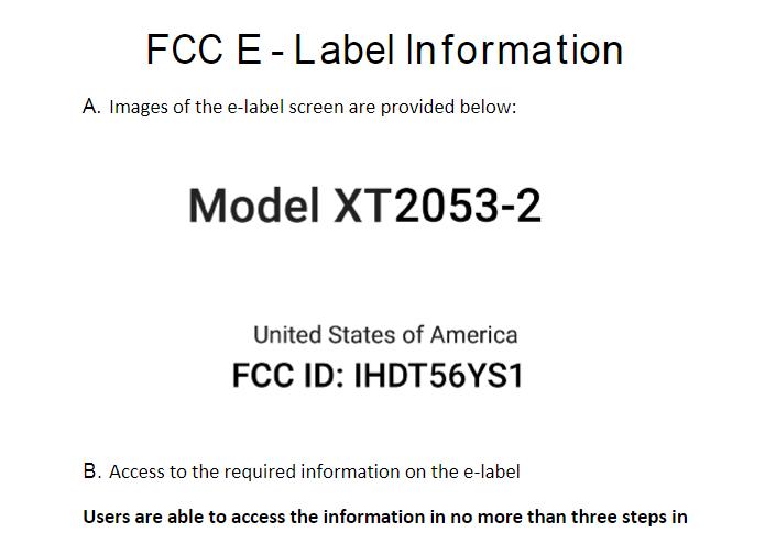 Onbekende Motorola XT2053 krijgt FCC goedkeuring.