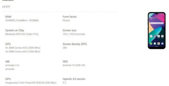 De nieuwe LG K31 belooft een betaalbare smartphone te worden gezien de specificaties.
