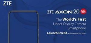 De nieuwe ZTE Axon 20 5G wordt op 1 september gelanceerd.