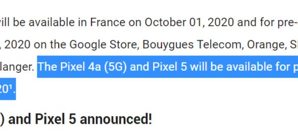 De pre-order datum van de Pixel 4a 5G en de Pixel 5 zijn door Google zelf naar buiten gebracht.