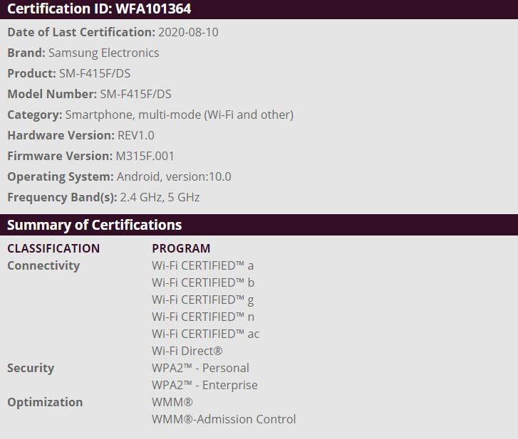 De Galaxy Fold Lite heeft een WiFi certificaat ontvangen.