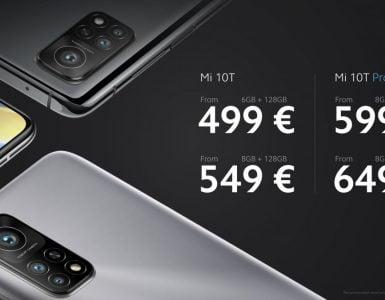 Prijzen van de Xiaomi Mi 10T en Mi 10T Pro.