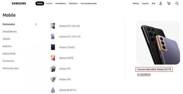 Samsung Galaxy S21 FE kortstondig op de website vermeld.