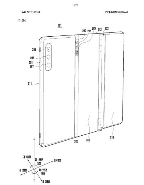 Samsung patenteert een drievoudig opvouwbare smartphone.
